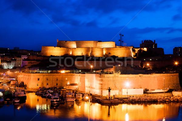 Marseille Franciaország panoráma éjszaka kikötő katedrális Stock fotó © photocreo