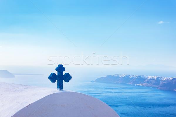 青 クロス 教会 屋根 サントリーニ 島 ストックフォト © photocreo