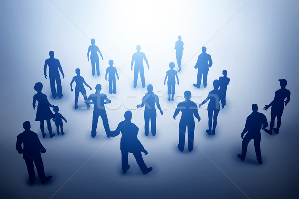 Group of various people silhouettes looking towards light, future. Stock photo © photocreo
