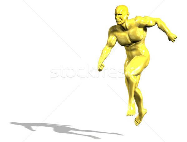 Oro eroe uomo statua esecuzione isolato Foto d'archivio © photocreo