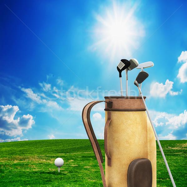Golfe equipamento bola campo de golfe ensolarado paisagem Foto stock © photocreo