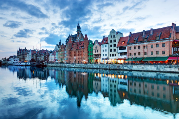 View of Gdansk old town and Motlawa river, Poland at sunset Stock photo © photocreo