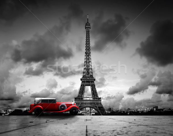 Effel Tower, Paris, France and retro red car. Black and white Stock photo © photocreo