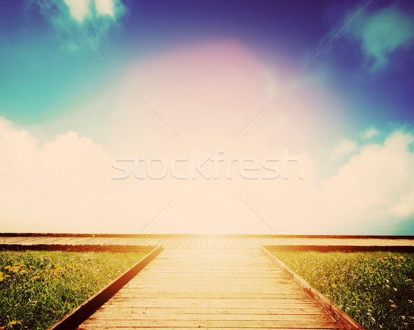 Wooden path leading to crossroads. Direction, way to choose Stock photo © photocreo