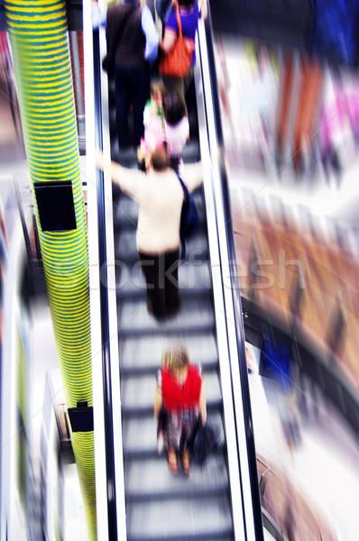 Vásárlás absztrakt emberek sietség mozgólépcső mozgás Stock fotó © photocreo