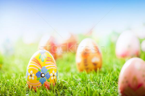Zdjęcia stock: Kolorowy · strony · malowany · Easter · Eggs · trawy · wiosną