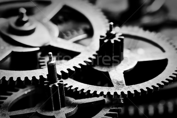 Grunge engins Cog roues blanc noir industrielle Photo stock © photocreo