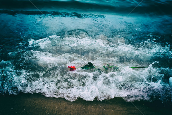 Stock photo: Waves washing away a red rose from the beach. Vintage. Love