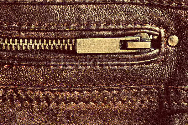 Genuine brown leather with zip and seam. Background Stock photo © photocreo
