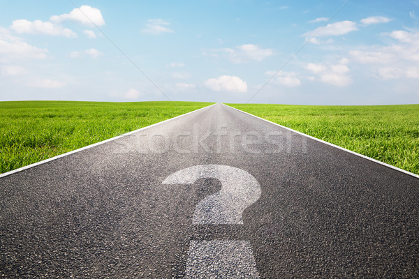 Question mark symbol on long empty straight road, highway Stock photo © photocreo