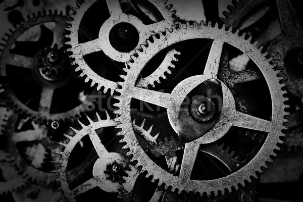 Grunge gear, cog wheels black and white background. Industrial, science Stock photo © photocreo