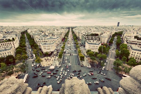 Paris, France busy streets, avenue des Champs-Elysees. Vintage Stock photo © photocreo