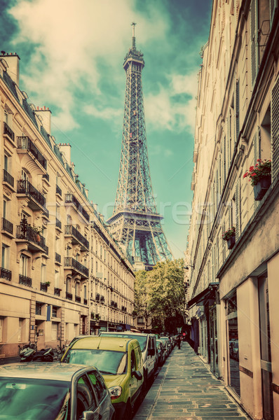 Eiffel Tower seen from the street in Paris, France. Vintage Stock photo © photocreo