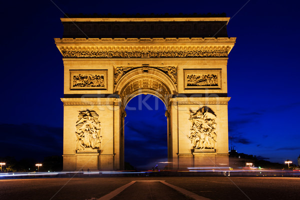 Arco do Triunfo noite Paris França ver carro Foto stock © photocreo