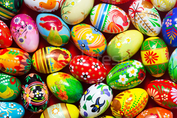 Handmade Easter eggs background. Spring patterns art, unique. Stock photo © photocreo