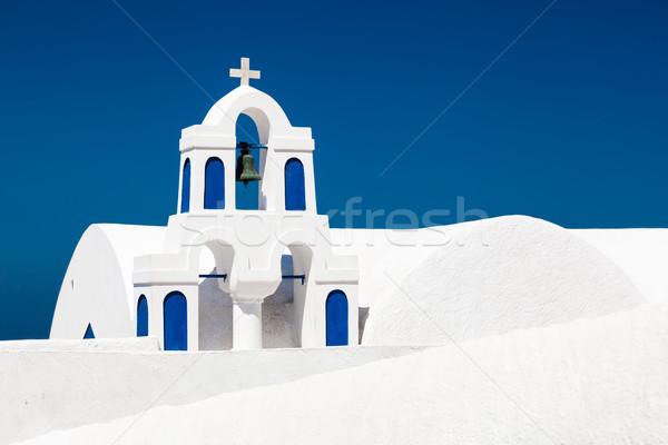 Fehér templom kék elemek Santorini sziget Stock fotó © photocreo