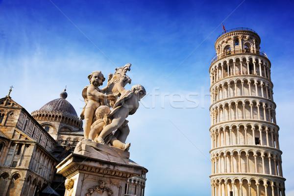 Fontein engelen kathedraal toren Toscane Stockfoto © photocreo