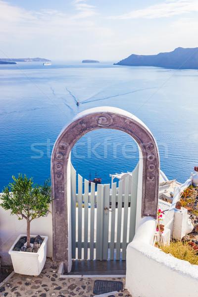 Hagyományos kerítés kapu Santorini sziget Görögország Stock fotó © photocreo