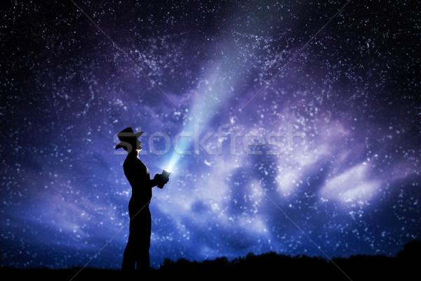человека Hat свет луч вверх Сток-фото © photocreo