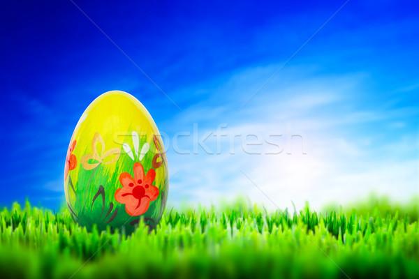 Mano verniciato easter egg erba primavera modelli Foto d'archivio © photocreo