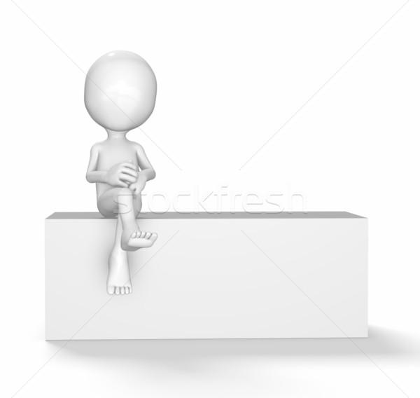 Foto stock: 3D · cara · sessão · branco · caixa · homem