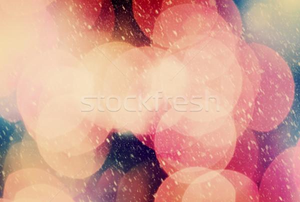 Christmas bokeh sneeuw sneeuwstorm schitteren licht Stockfoto © photocreo