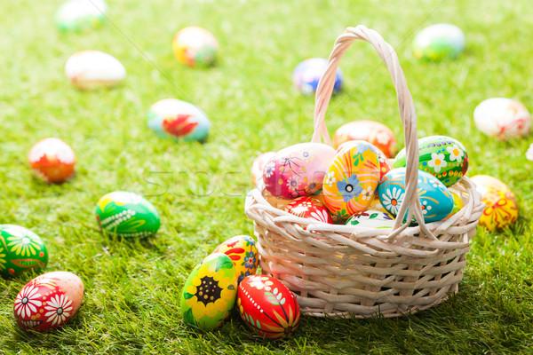único mão pintado ovos de páscoa cesta grama Foto stock © photocreo