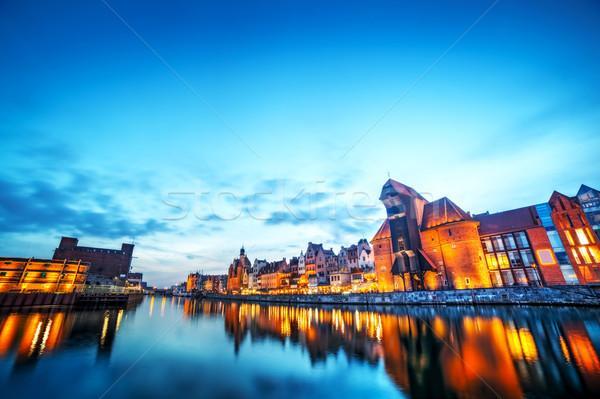 Danzica Polonia città vecchia fiume noto gru Foto d'archivio © photocreo