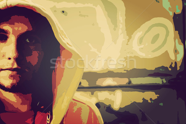 Low poly illustration of young man portrait in hooded sweatshirt. Grunge Stock photo © photocreo