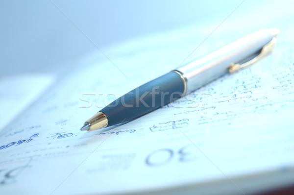 Töltőtoll szervező irodai munka toll naptár ír Stock fotó © photocreo