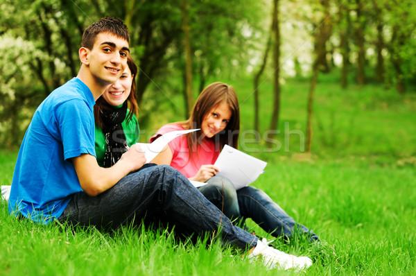 Jeunes élèves apprentissage extérieur ensemble Photo stock © photocreo
