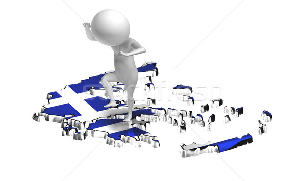 Angry 3d guy jumping on Greece map Stock photo © photocreo