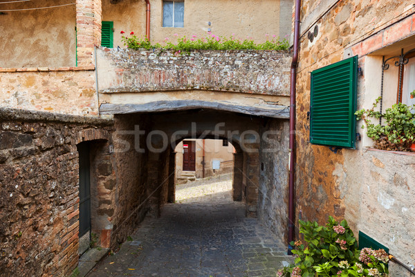 Romantic narrow street and balcony in Montepulciano, Tuscany, Italy. Stock photo © photocreo