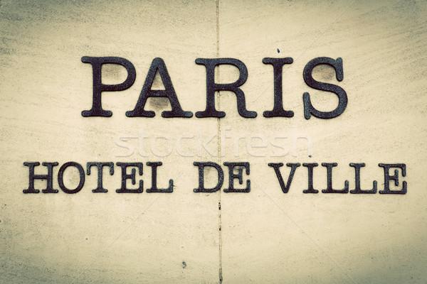 Párizs hotel párizsi város előcsarnok felirat Stock fotó © photocreo