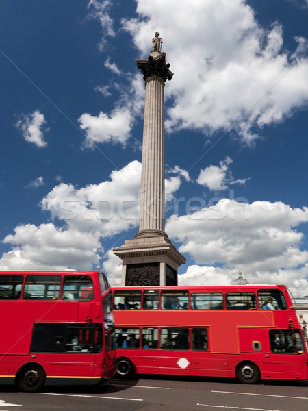 Trafalgar Square in London, the UK. Red bus Stock photo © photocreo