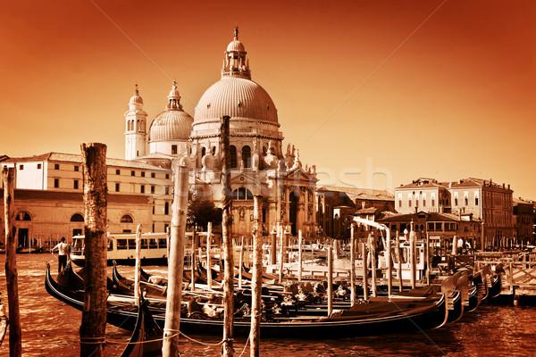 Venice, Italy. Gondolas on Grand Canal and the Salute basilica Stock photo © photocreo