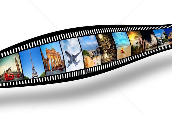 Filmszalag színes vibráló fényképek fehér utazás Stock fotó © photocreo