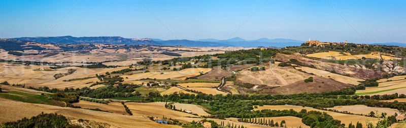 Tuscany landscape panorama with Pienza town on the hill, Italy. Stock photo © photocreo
