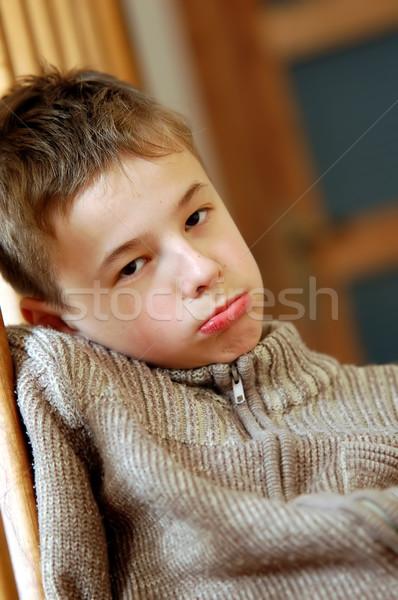 Nuda młody chłopak twarz chłopca młodych płacz Zdjęcia stock © photocreo