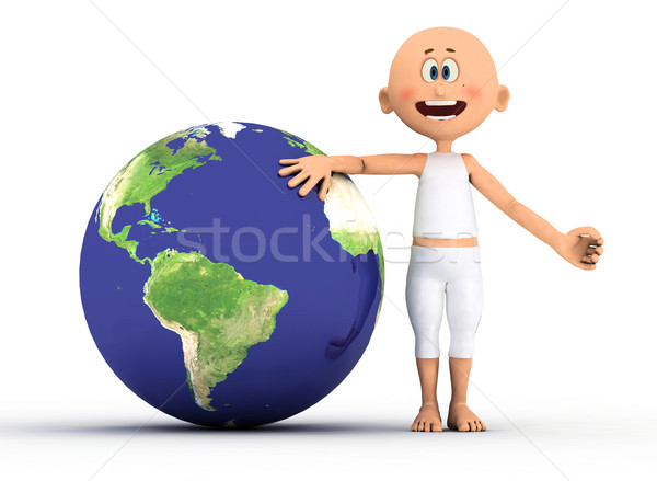 Toon guy and the earth. Stock photo © photocreo