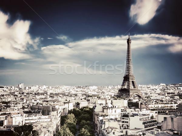 屋上 表示 エッフェル塔 パリ フランス 凱旋門 ストックフォト © photocreo