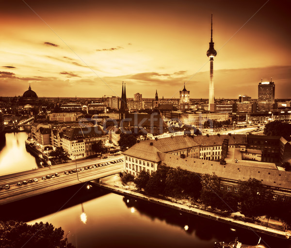 Berlin, Germany major landmarks at sunset in gold tone Stock photo © photocreo