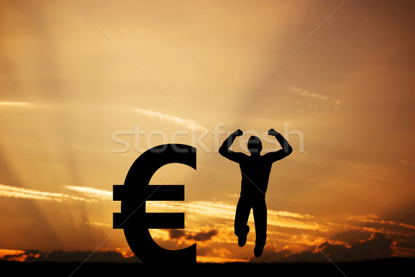 Man springen vreugde euro symbool winnaar Stockfoto © photocreo