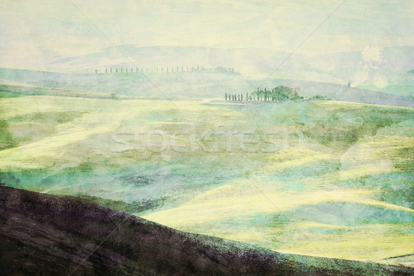 Painting of Tuscany landscape at sunrise. Tuscan green hills. Stock photo © photocreo