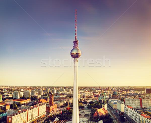 テレビ 塔 ベルリン ドイツ 日没 空 ストックフォト © photocreo