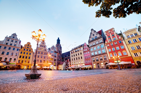 Wroclaw, Poland in Silesia region. The market square at the evening Stock photo © photocreo