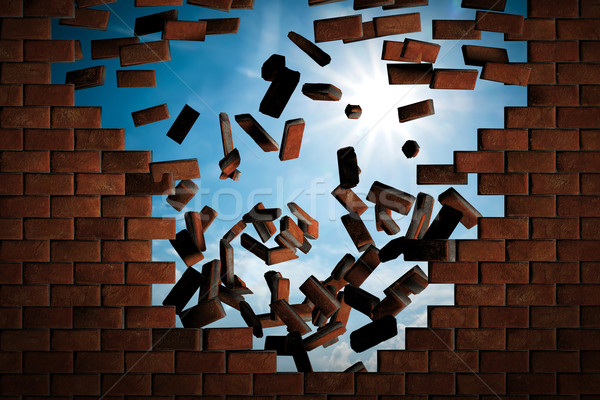 Brick wall falling down making a hole to sunny sky outside Stock photo © photocreo