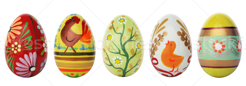 Main peint œufs de Pâques isolé blanche printemps Photo stock © photocreo