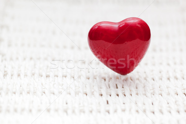Red heart shape on wicker. Retro, rustic Stock photo © photocreo