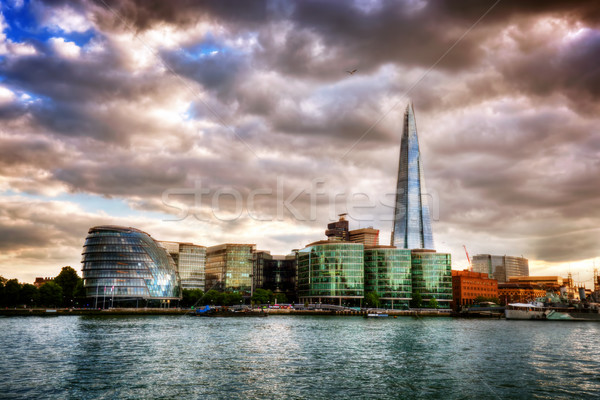 City Hall and the Shard. London, England the UK. River Thames at sunset Stock photo © photocreo